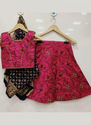 Newest Designer Magenta Pink Embroidery Kids Lehenga Choli