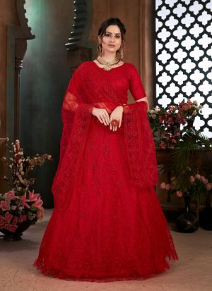 Newly Launched Red Net Lehenga