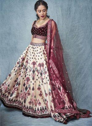 Nushrat Bharucha Cream Classic Digital Printed Festive Wear Lehenga