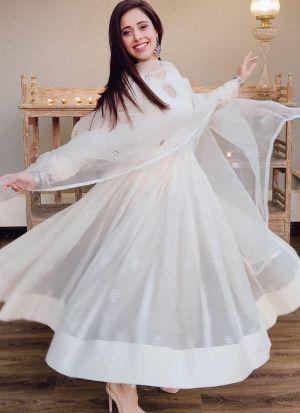 Nushrratt Bharuccha White Classy Anarkali Dress