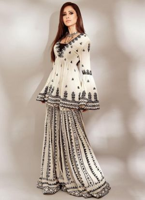 Nushrratt Bharuccha White Georgette Sharara Suit