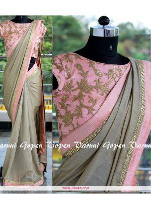 NX-261 Grey Chanderi Silk Kasab Work And Dori Work Indian Saree