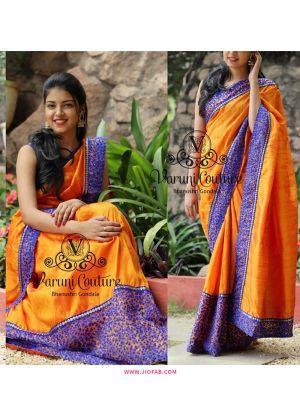 NX-266 Yellow Paper Silk Sequnce Thread Work Indian Saree