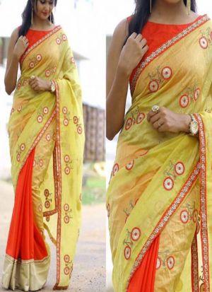 NX-283 Lemon Yellow Chanderi Silk Fancy Thread Work Traditional Saree