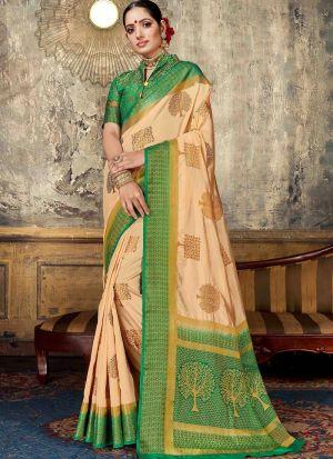 Nylon Silk Chiku Party Wear Saree Collection