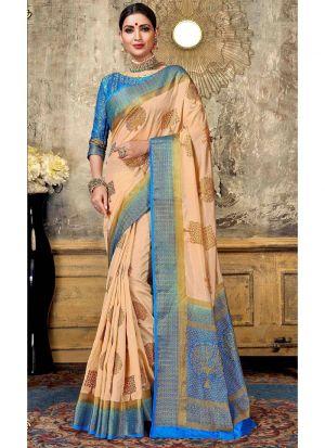 Nylon Silk Chiku Traditional Designer Saree Collection