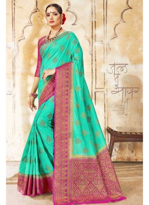 Nylon Silk Light Green Latest Wedding Saree Collections