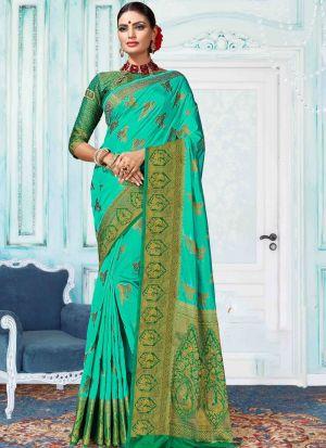Nylon Silk Light Rama Indian Saree Collection