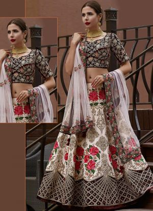 Off White Banglori Silk Designer Lehenga Choli With Thread Work SN 157