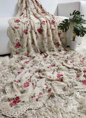 Off White Georgette Silk Saree