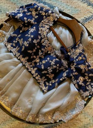 Off White Organza Silk Saree With Blue Blouse