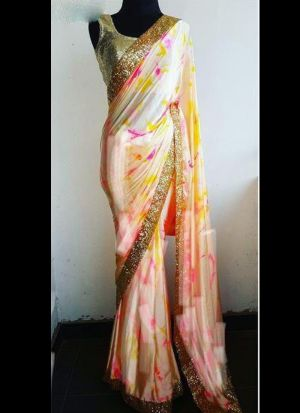 Off White Printed Casual Saree