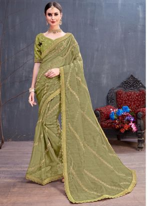 Olive Color Organza Embroidered Party Wear Designer Saree