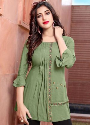 Olive Green Colour Ethnic Top With Beautiful Embroidery