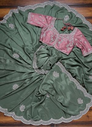 Olive Green Vichitra Silk mehndi wear saree