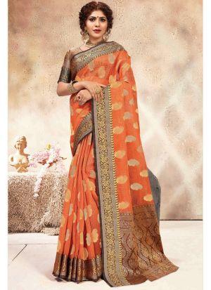 Orange Banarasi Kora Silk Wedding Saree Collection