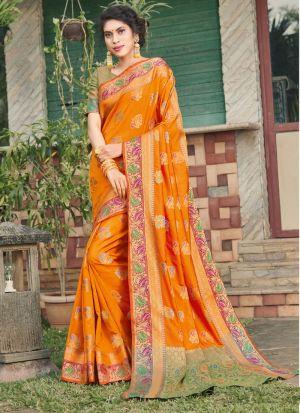 Orange Banarasi Silk Saree Special Wedding Edition