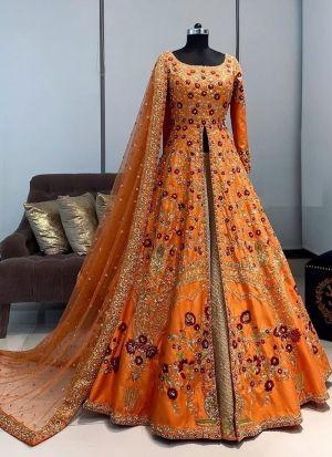 Orange Banglori Satin Lehenga With Dupatta