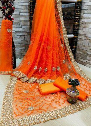 Orange Banglori Silk Moti Work Saree