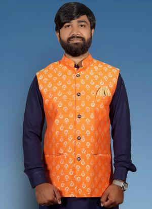 Orange Jute Neheru Jacket For Men