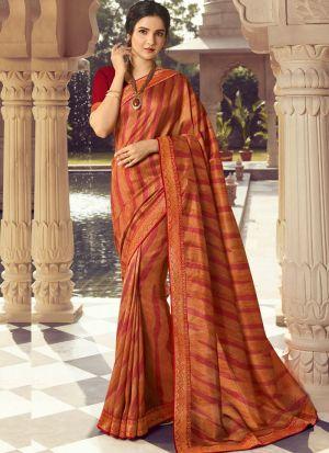 Orange Kanjivaram Silk Printed Stylish Saree