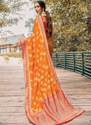 Orange Naylon Silk Fabric Traditional Wear Fancy Saree