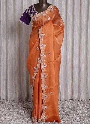 Orange Organza Silk Embroidery Saree