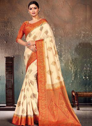 Orange South Indian Naylon Silk Saree For Festival