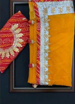 Orange Thai Organza Silk Saree For Women