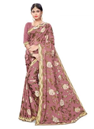 Orchid Elegant Jacquard Net Saree