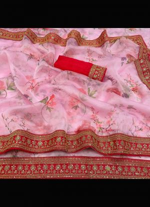 Organza Silk Baby Pink Sequence Saree