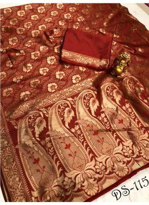 Paithani Banarasi Maroon Saree