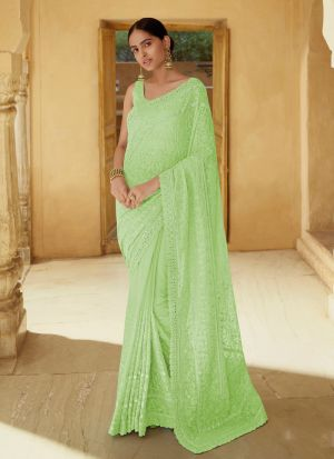 Pale Green Occasion Special Mirror Work Saree