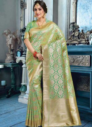 Parrot Banarasi Pure Silk Festive Wear Traditional Saree