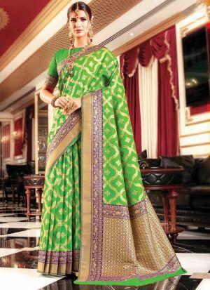 Parrot Banarasi Silk Designer Sarees For Wedding