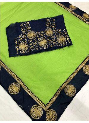 Parrot Chanderi Designer Traditional Saree