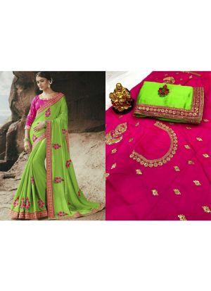 Parrot Color Rangoli Fancy Saree Collection