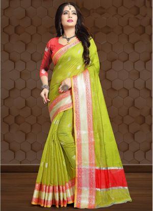 Parrot Linen Fancy Designer Traditional Saree