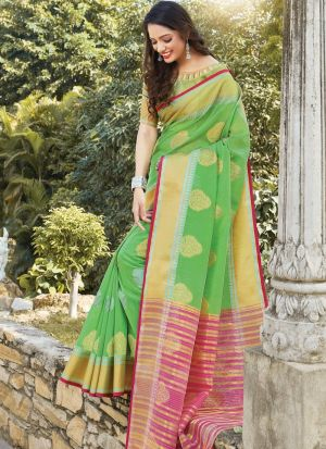 Parrot South Indian Wedding Linen Cotton Saree