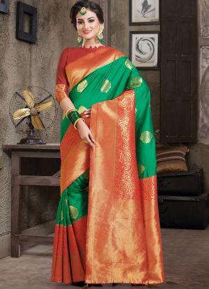 Parrot Women Wedding And Partywear Crystal Silk Saree