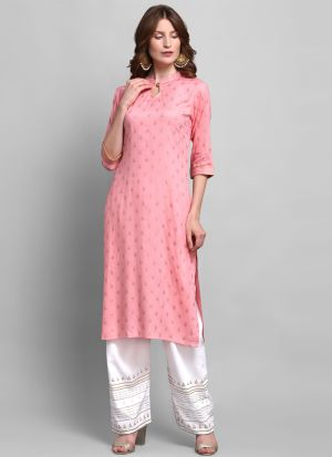 Party Wear Baby Pink Foil Print 3-4 Sleeves Kurti