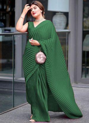 Party Wear Green Vichitra Silk Saree