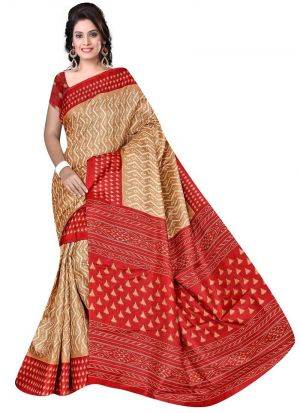 Party Wear Multi Color Rice Silk Printed Saree