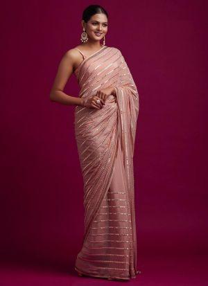 Party Wear Peach Rangoli Silk Saree