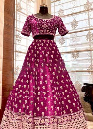 Party Wear Pink Embroidery Lehenga Choli