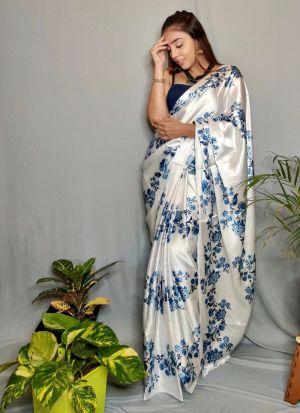 Party Wear Satin Silk Saree In White