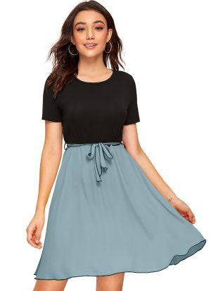 Party Wear Sky Blue Dress With Belt