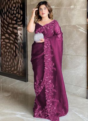 Party Wear Wine Organza Silk Saree