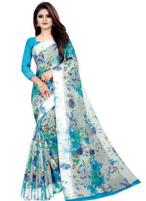Partywear Designer Ice Blue Soft Linen Silk Saree