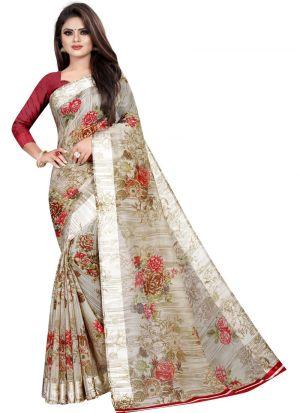 Partywear Designer Light Grey Soft Linen Silk Saree